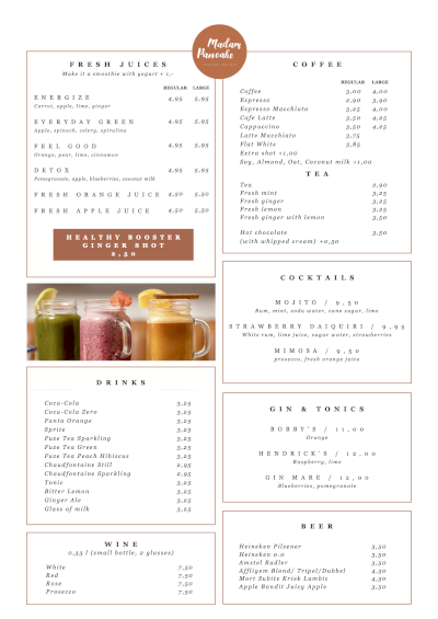 Madam Pancake menu - Drinks