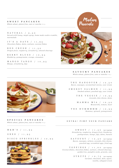 Madam Pancake menu - All Day (Sweet & Savoury)