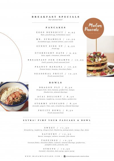 Madam Pancake menu - Breakfast favourites